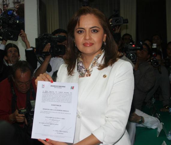 Ana Lilia Herrera toma protesta como líder del MT. Foto: Francisco Cañedo, SinEmbargo