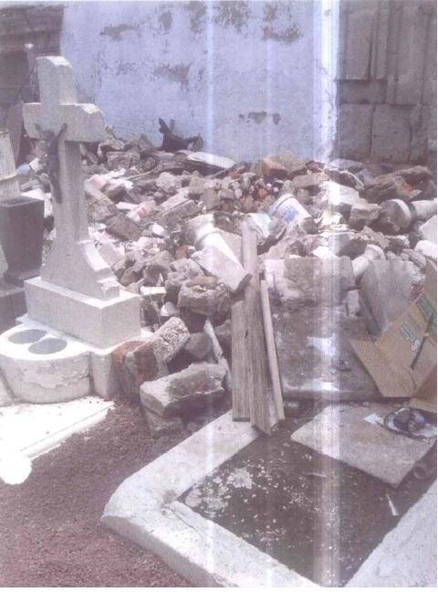 Imagen del panteón donde se encuentran algunos de los fallecidos en el News Divine. Foto: Cortesía de la CDHDF