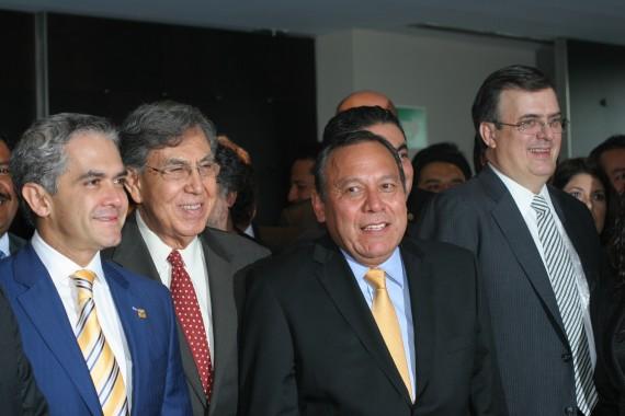 Miguel Ángel Mancera, Cuauhtémoc Cárdenas, Jesús Zambrano, Marcelo Ebrard. Foto: Francisco Cañedo, SinEmbargo