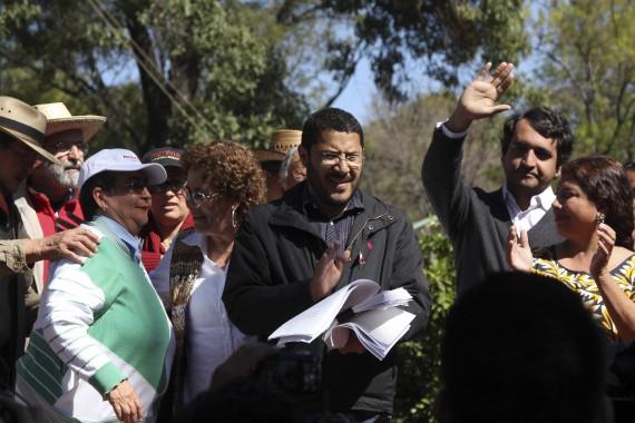 Martí Batres y el hijo de AMLO encabezaron las protestas de Morena contra la Reforma Energética. Foto: Cuartoscuro