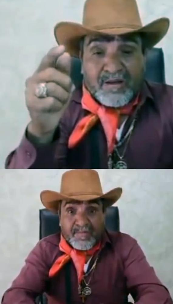 """""""El tío"""", en un video en el que amenaza a uno de los líderes de las guardias comunitarias. Lo reta a """"un duelo"""". Foto: Youtube"""