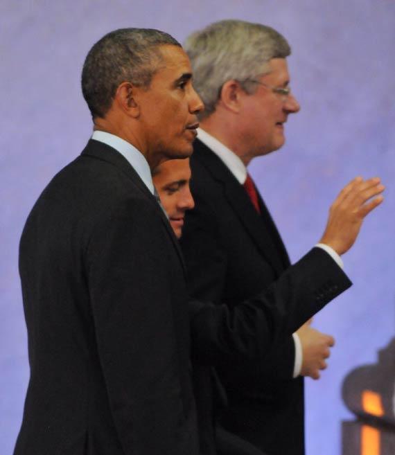 Barack Obama, Enrique Peña Nieto y Stephen Harper, en Edomex. Foto: Cuartoscuro