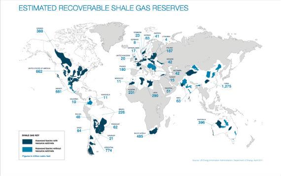 Reservas de Gas Shale en el Mundo: Imagen: Movimiento Mundial Contra el Fracking