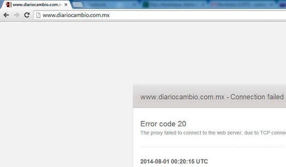 El sitio del Diario Cambio recibió durante tres días ataques. Foto vía Twitter.