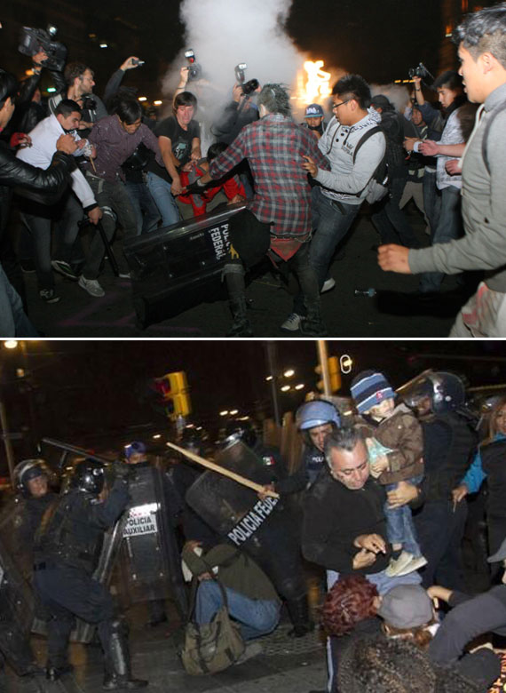 Dos tipos de agresiones. Arriba, policías contra periodistas. Abajo, manifestantes contra granaderos. Fotos: @davirrin en Twitter, y Francisco Cañedo, SinEmbargo.