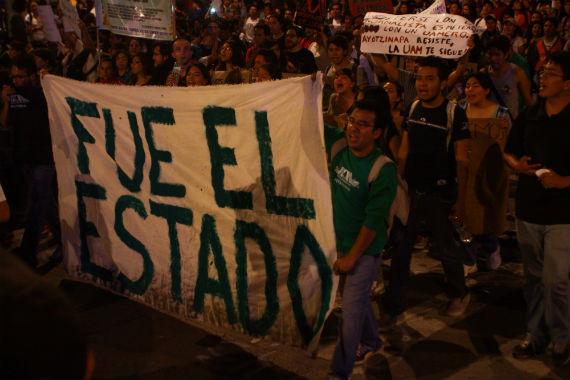 Padres y famiiares de os desaparecidos, así como la sociedad civil, culpan al Estado. Foto: Antonio Cruz, SinEmbargo