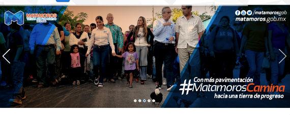 Se utilizó el portal electrónico de Matamoros para ejemplificar el uso propagandístico de los sitios web, en vez de proporcionar información útil a la ciudadanía. Foto: Captura de Pantalla
