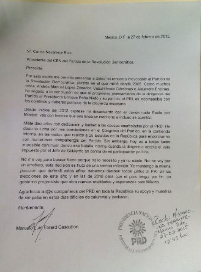 Carta de Ebrard enviada a la dirigencia del PRD. Foto: Twitter