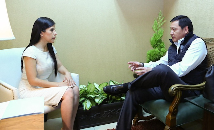 Osorio Chong se reunió con la Presidenta Municipal de Matamoros, Leticia Salazar Vázquez, en el marco de la Reunión Estrategia de Seguridad Tamaulipas en febrero pasado. Foto: Cuartoscuro