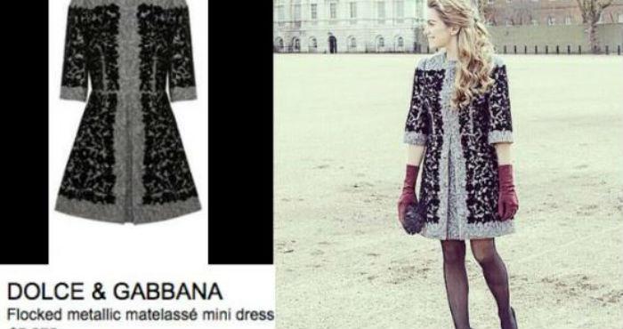 En la imagen se puede observar a la joven ataviada con un vestido de lana negro con aplicaciones en gris de la marca de Dolce & Gabbana, valuado en 7 mil 275 dólares (114 mil 799 pesos al tipo de cambio de hoy). Foto: Especial