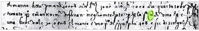 El símbolo del @ fue utilizado en 1536 en una carta de un comerciante italiano.