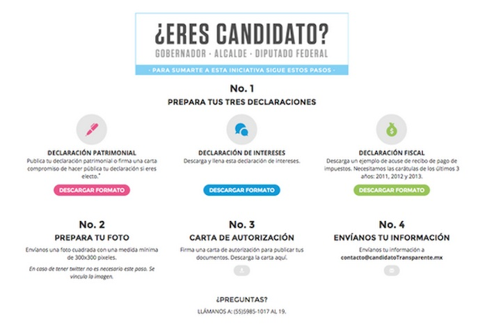 La plataforma Candidato Transparente. Foto: Twitter @imcomx