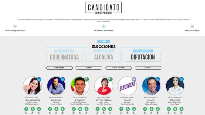 En el apartado de los candidatos a una diputación, sólo se encuentran los que ya realizaron sus tres declaraciones. Foto: Twitter @imcomx