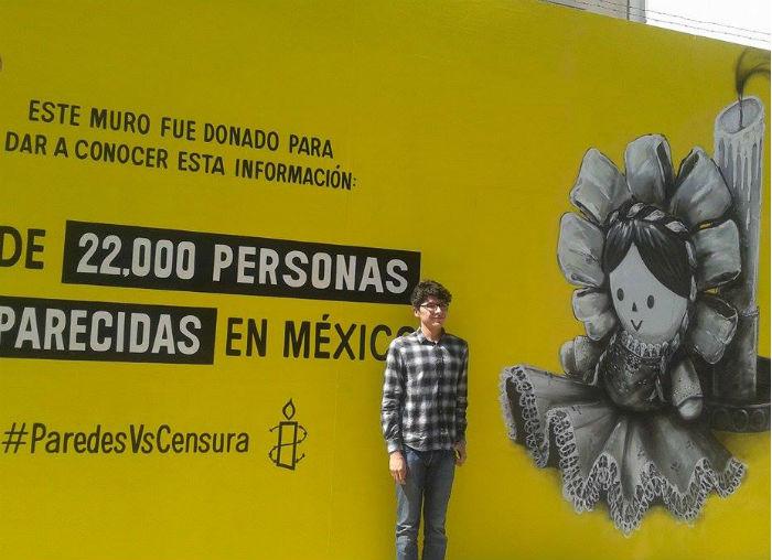 """El  primer muro donado e intervenido por el artista Alan Rodríguez, """"Caronte"""". Foto: Sergio Rincón, SinEmbargoMx."""