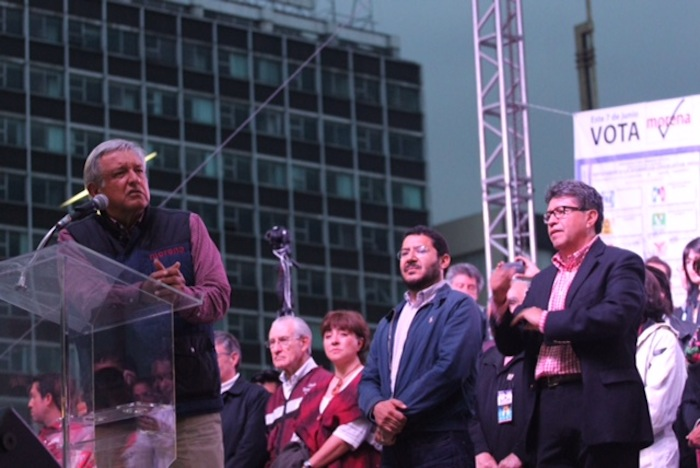 López Obrador estuvo en el cierre de campaña de Ricardo Monreal Ávila en la delegación Cuauhtémoc. Foto: Luis Barrón, SinEmbargo