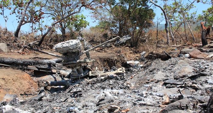 Restos del helicóptero derribado en Jalisco. Foto: Cuartoscuro.
