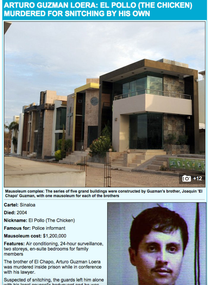 """Mausoleo de Arturo Guzmán Loera, alias """"El Pollo"""". Foto: Captura de pantalla"""