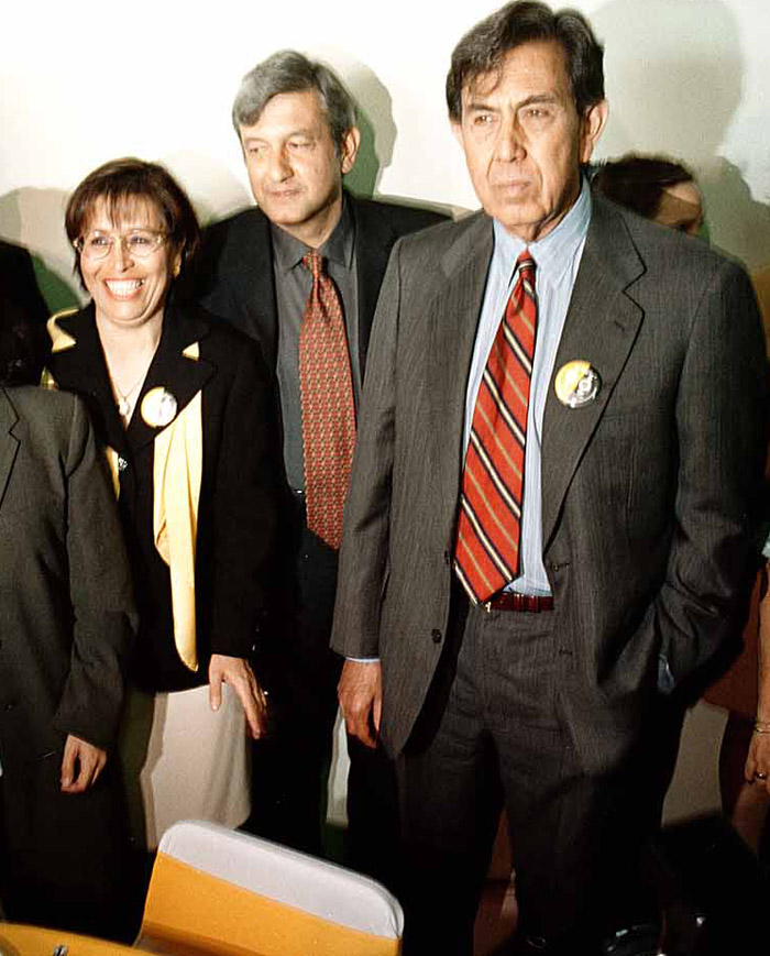 Robles, AMLO y Cárdenas. Los tres jefes de Gobierno, los tres fuera del PRD. Foto: Cuartoscuro