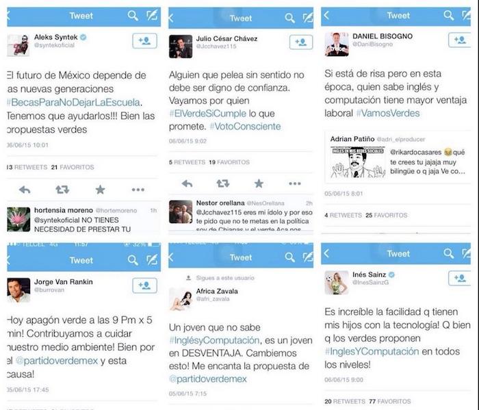 Artistas tuiteando a favor del Verde. Foto: Especial