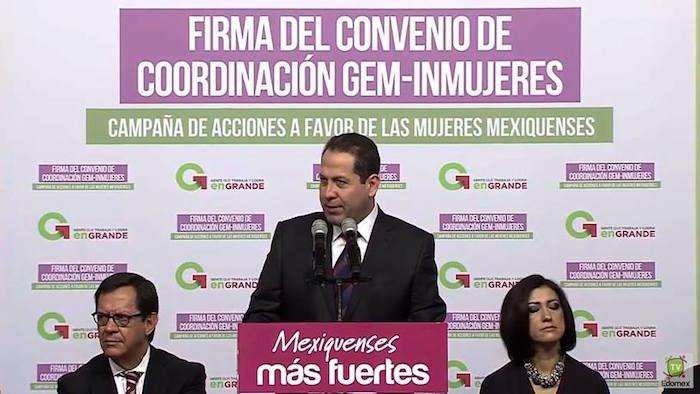Eruviel Ávila en el evento donde pidió Alerta de Género. Foto: Especial.