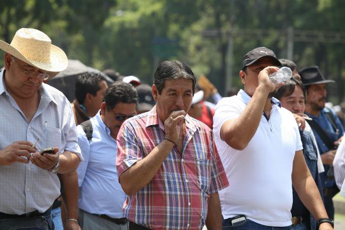 El líder de la Sección 22 de la CNTE, el pasado 15 de julio, durante una marcha en la capital del país. Foto: Cuartoscuro