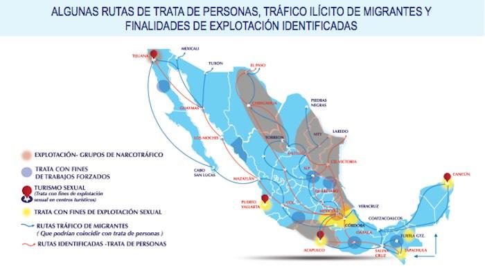 Las rutas de la trata de personas elaborada por la ONU.