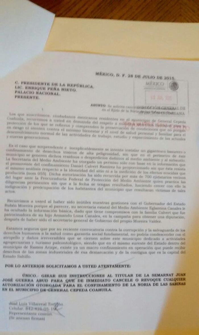En una carta solicitaron al Presidente cancelar la autorización otorgada para el confinamiento en Noria de la Sabina. Foto: Especial