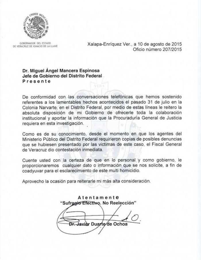 La carta que difundió Javier Duarte en Twitter.