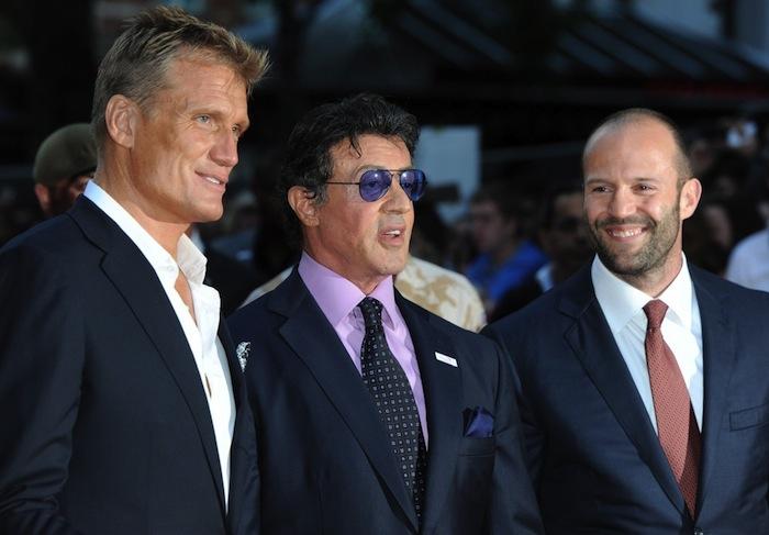 Lundgren (izquierda) acompañado por Sylvester Stallone y Jason Statham. Foto: EFE