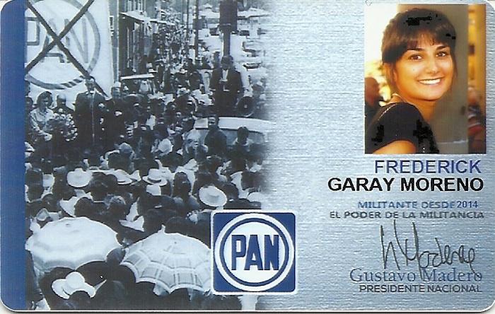 Frederick Garay Moreno, aunque su nombre parece masculino, en su foto de su credencial de afiliación al PAN, aparece como una joven mujer.  Foto: Especial, SinEmbargo