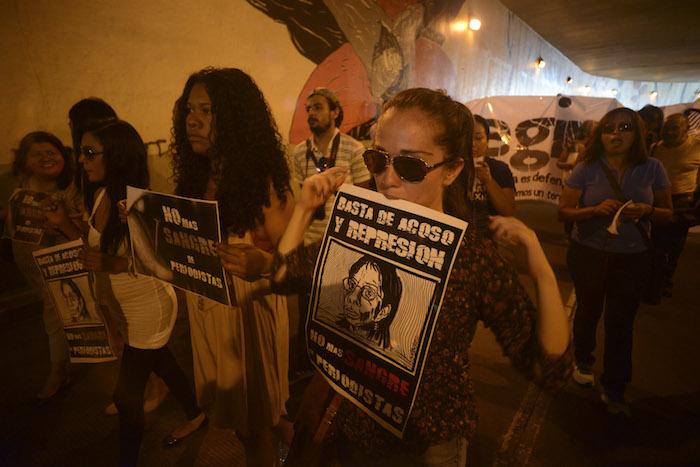 Manifestantes exigen justicia en abril de 2014, a dos años del asesinato de Regina Martínez. Foto: Cuartoscuro