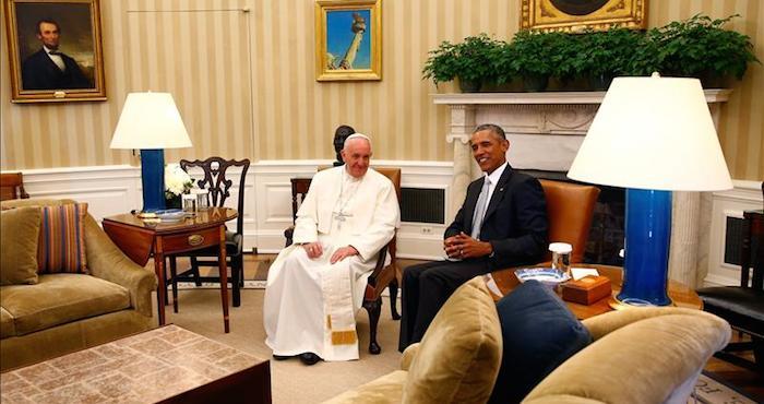 El Papa Francisco se reúne con el Presidente estadounidense, Barack Obama, en la Casa Blanca, en Washignton DC, EU. Foto: EFE