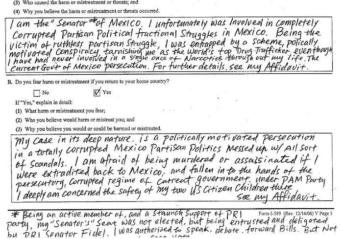 En una solicitud de asilo en Estados Unidos Ye Gon se presentó como miembro del Senado mexicano. Foto: Univisión.