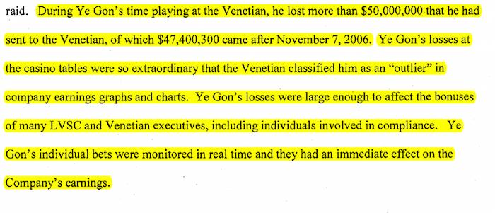 Extracto de un documento de la Fiscalía de Estados Unidos que muestra cómo las apuestas de Ye Gon dispararon las utilidades del casino Venetian, en Las Vegas. Foto: Univisión.