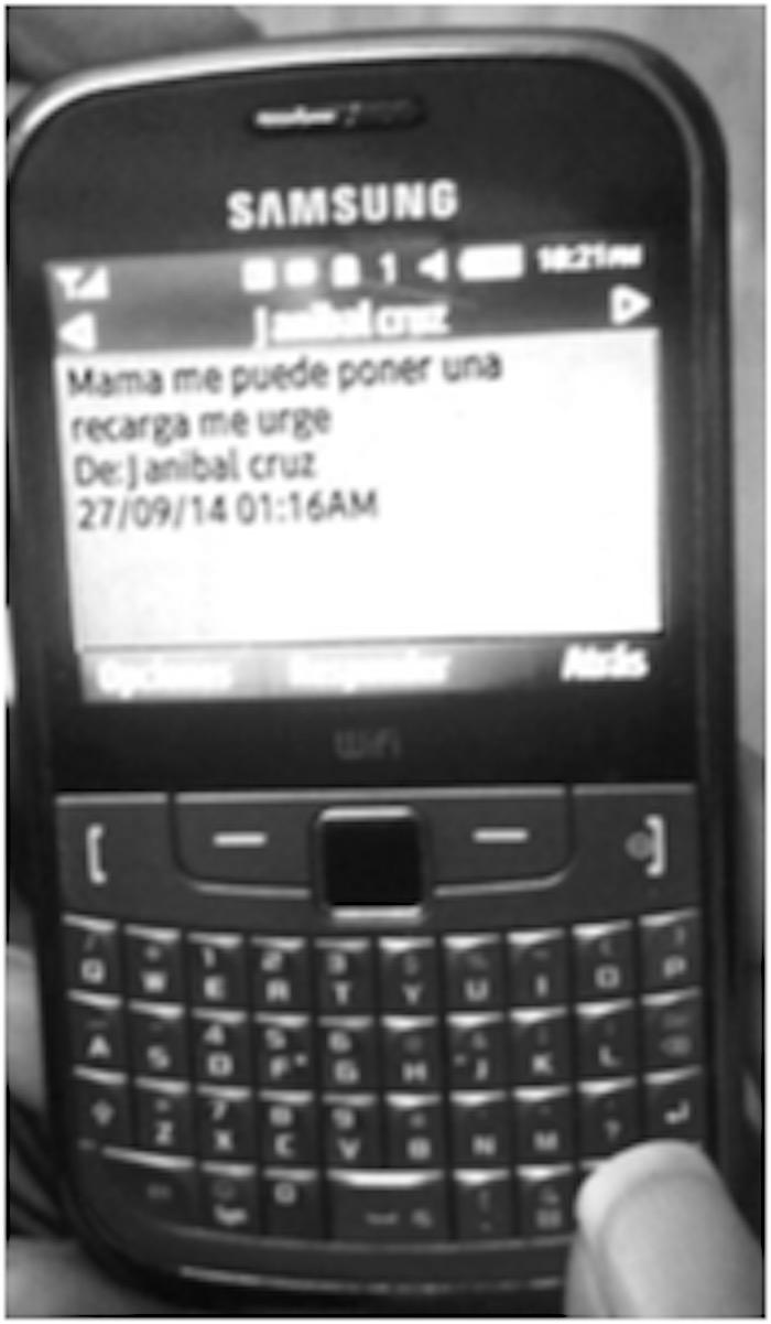 El mensaje de texto enviado por un normalista con fecha del 27 de septiembre. Imagen obtenida del informe del GIEI.