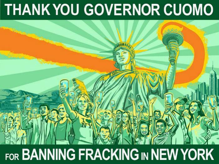 Cartel con mensaje de agradecimiento al Gobernador de Nueva York, Andrew Cuomo, tras haber decretado la prohibición del fracking en el estado, en diciembre pasado. Imagen: Facebook Frack Action