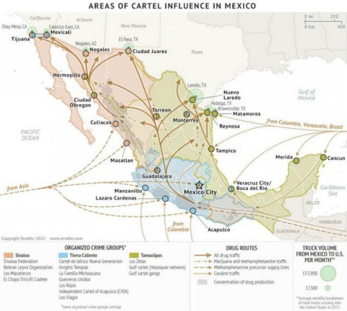 Existe una súbita –que no nueva- irrupción pública de las organizaciones de la delincuencia organizada en Puebla. Gráfica: Stratfor