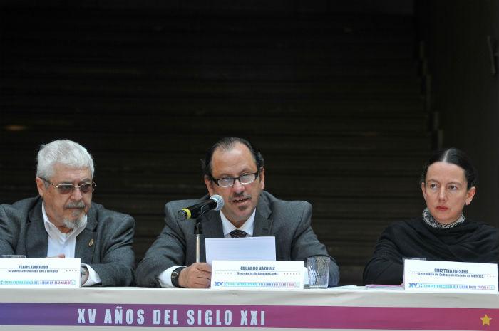 Eduardo Vázquez Martín presenta el programa de la FIL ZÓCALO 2015. Foto: FIL Zócalo