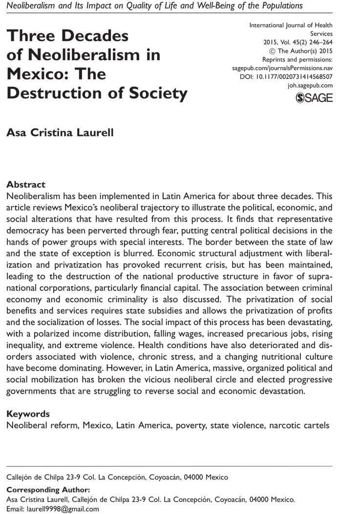 30 años de neoliberalismo en México destruyeron la sociedad: estudio