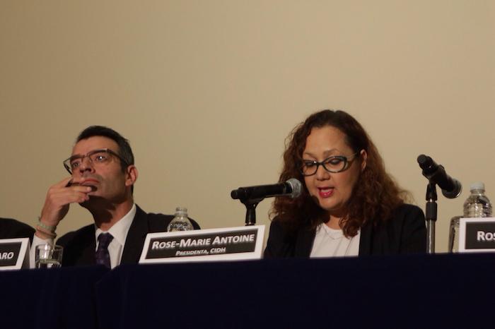 La presidenta de la CIDH, Rose-Marie Belle Antoine; y el primer vicepresidente, James Cavallaro. Foto: Francisco Cañedo, SinEmbargo
