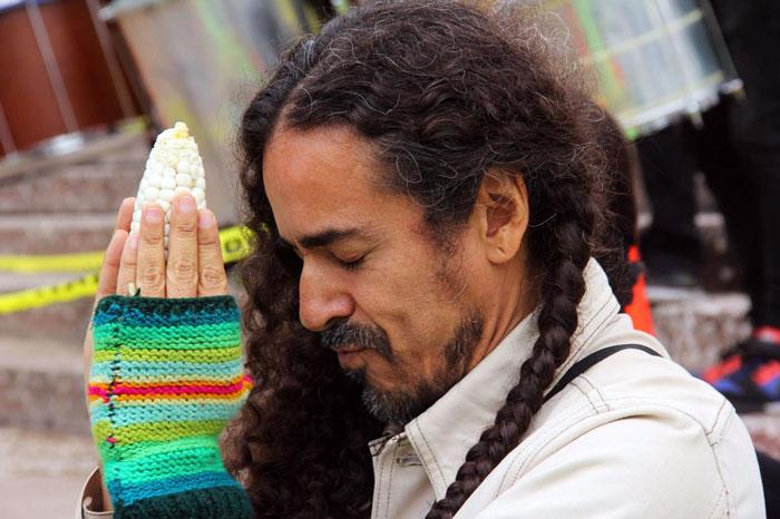 Rubén Albarrán acompañó este pronunciamiento contra el maíz transgénico. Foto: Luis Barrón, SinEmbargo