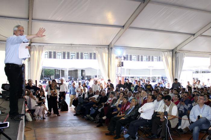 El Foro Eduardo Galeano abarrotado para escuchar al político boliviano. Foto: Luis Barrón, SinEmbargo
