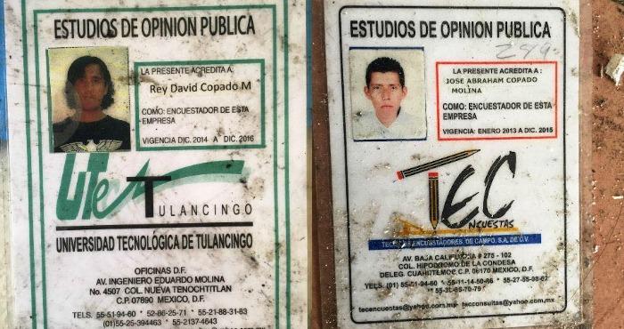 Las indentifiaciones de los hermanos José Abraham y Rey David Copado Molina que circulan en redes.