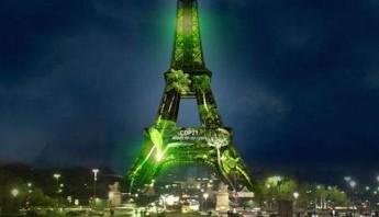 La dama de hierro luce motivos ecológicos. Foto: @1Heart1Tree