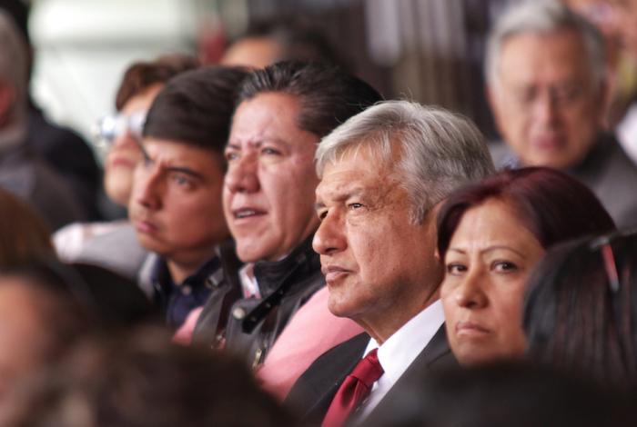 Obrador durante el Congreso de Morena que se celebra este día en la Ciudad de México. Foto: Francisco Cañedo, SinEmbargo