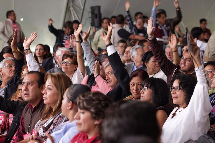 Andrés Manuel López Obrador durante el Congreso de Morena. Foto: Francisco Cañedo, SinEmbargo
