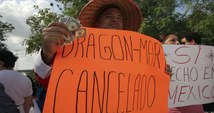 Protesta en contra del proyecto con inversión asiática. Foto: Cuartoscuro