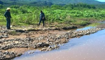La laguna está siendo contaminada por aguas residuales