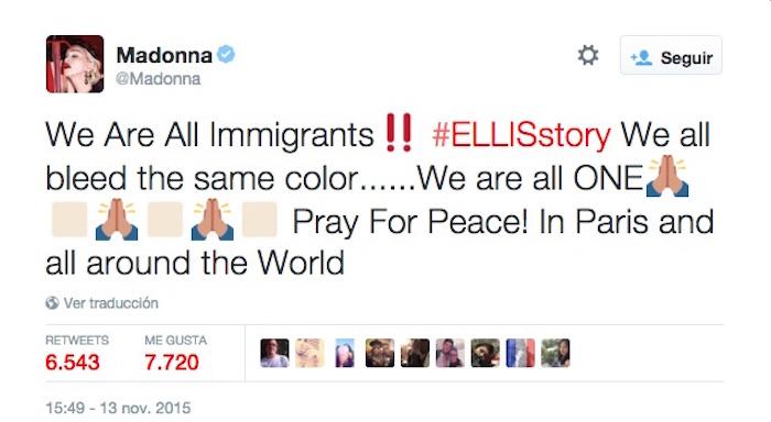 """""""Todos sangramos con el mismo color...¿Somos todos uno? Recemos por la paz! En París y en todo el mundo"""". Foto: Twitter vía @Madonna"""