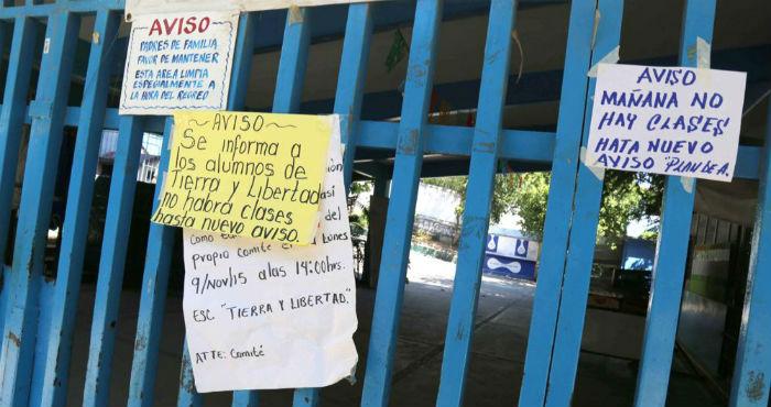 Los planteles educativos se encuentran vacíos y algunas no tienen letreros para anunciar cuándo se reanudarán las clases. Foto: El Sur